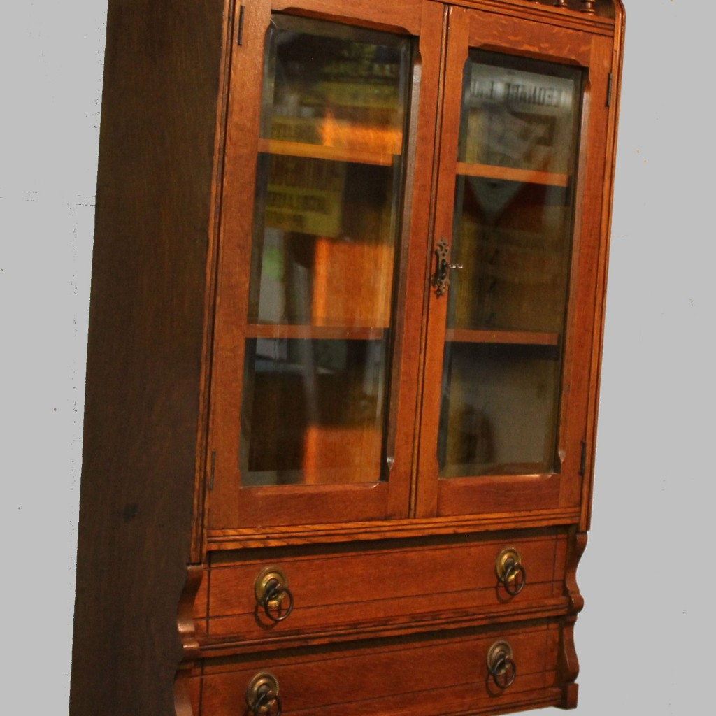Bargain Johns Antiques  Antique Oak Wall Curio Cabinet