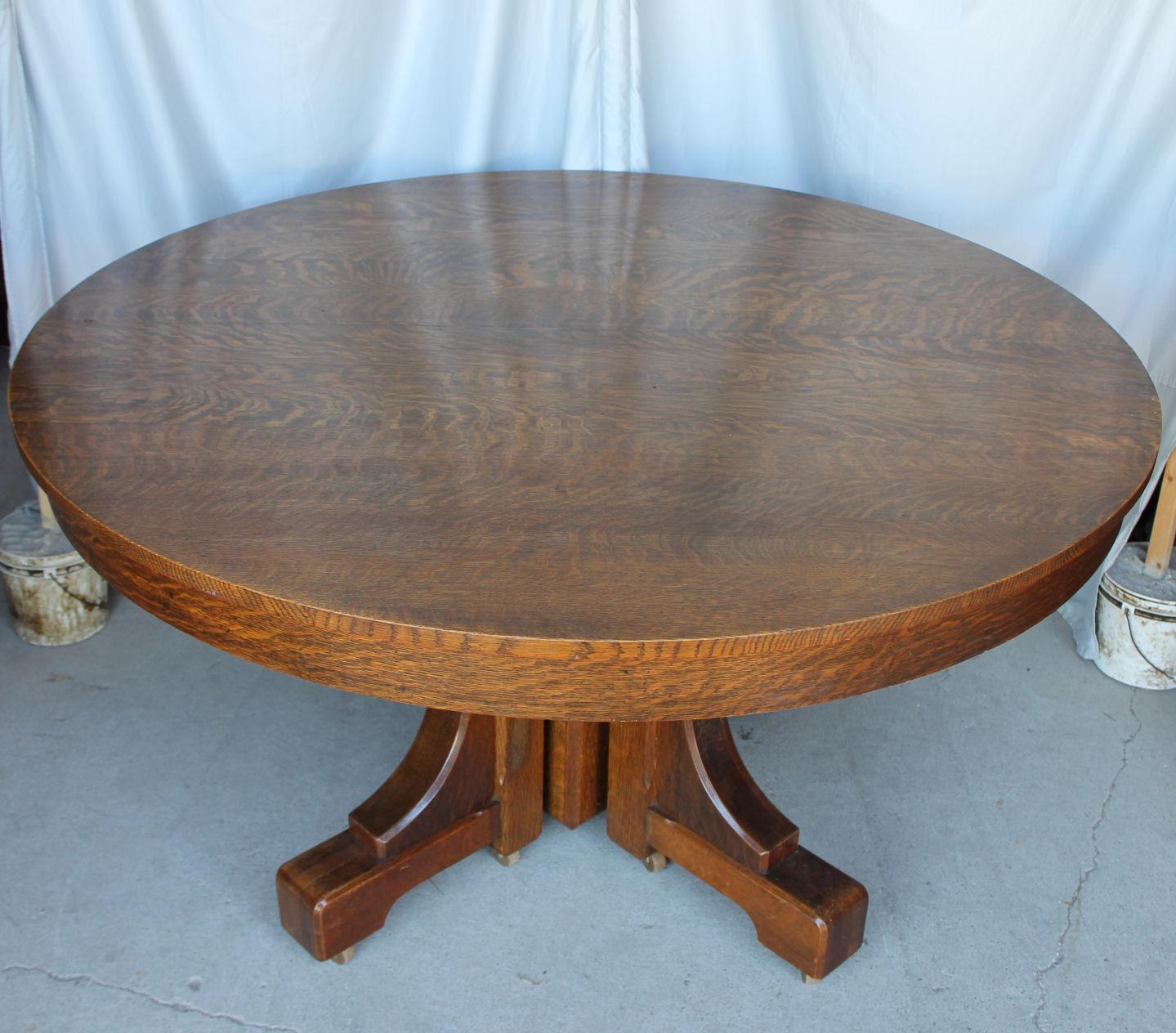 Bargain John S Antiques Mission Style Round Oak Dining