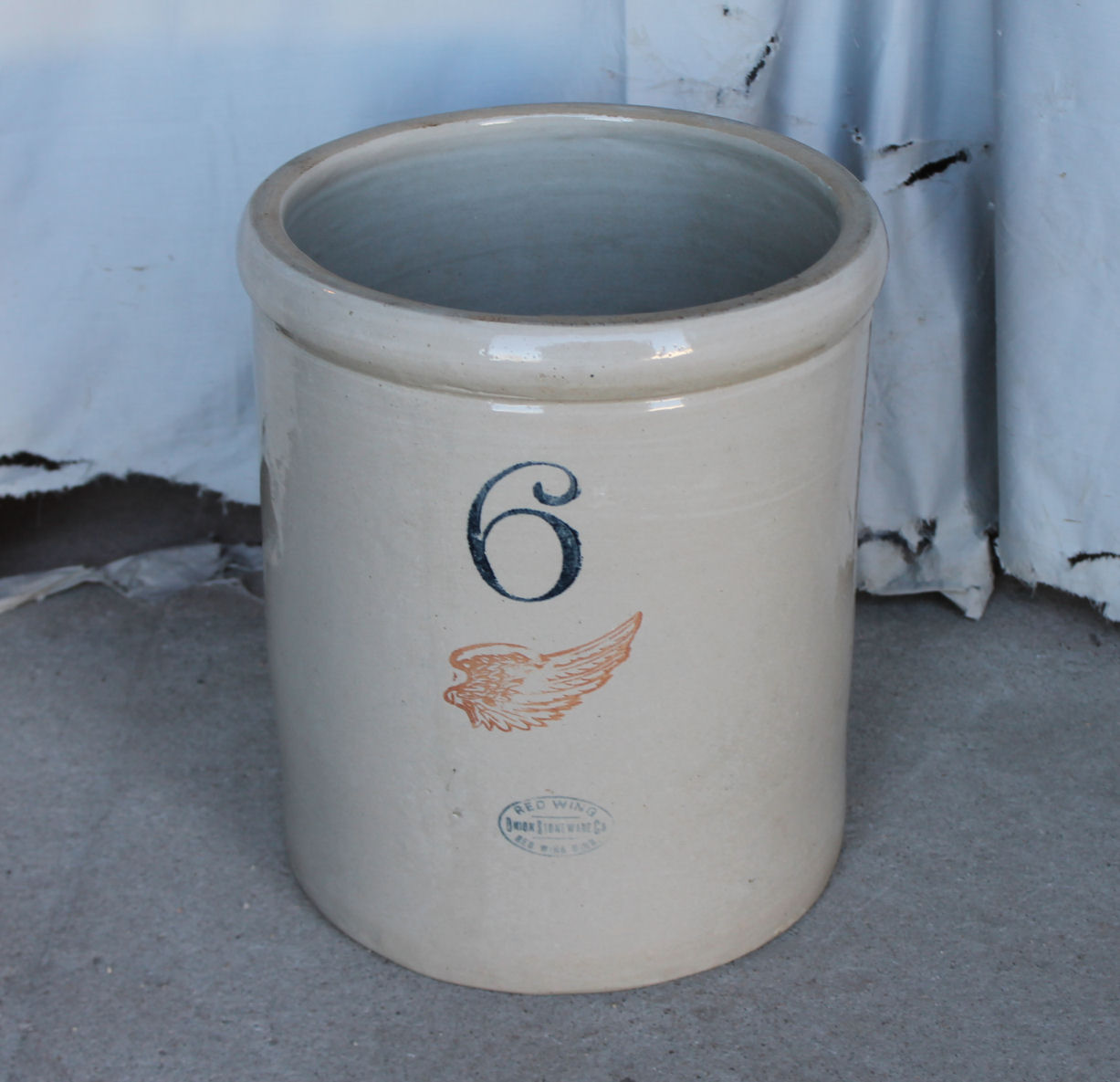 kitchen crock unfinished pantry bargain john's antiques   red wing stoneware 6 gallon ...