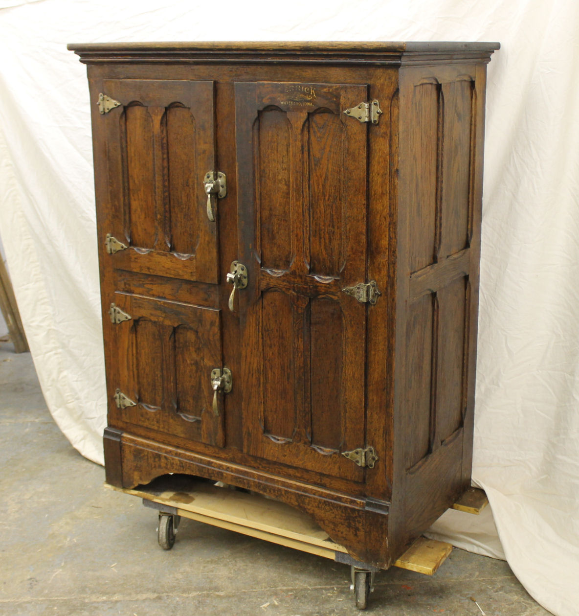 Bargain Johns Antiques  Antique Oak Ice Box  Herrick