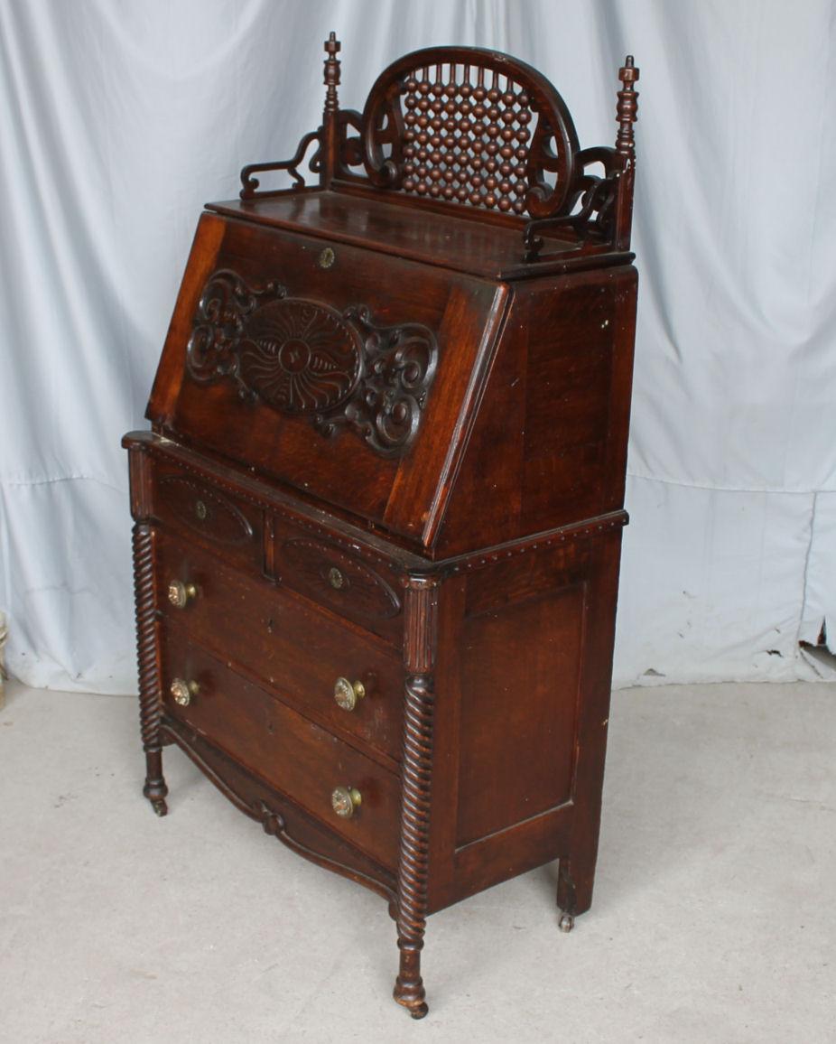 steel chair for office beach chairs large person bargain john's antiques | antique oak drop front desk - ladies secretary