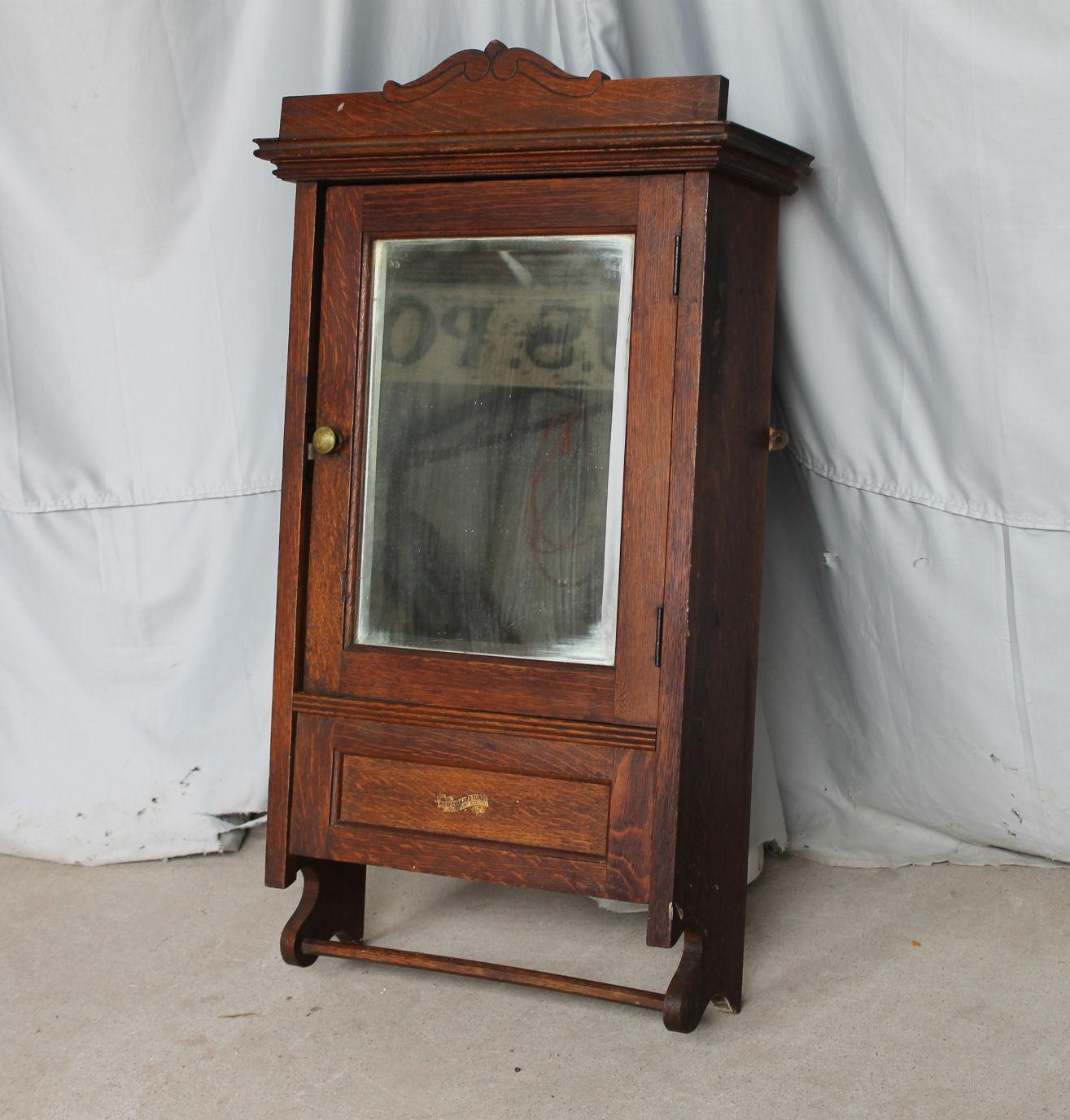 Bargain Johns Antiques  Antique Oak Medicine Cabinet