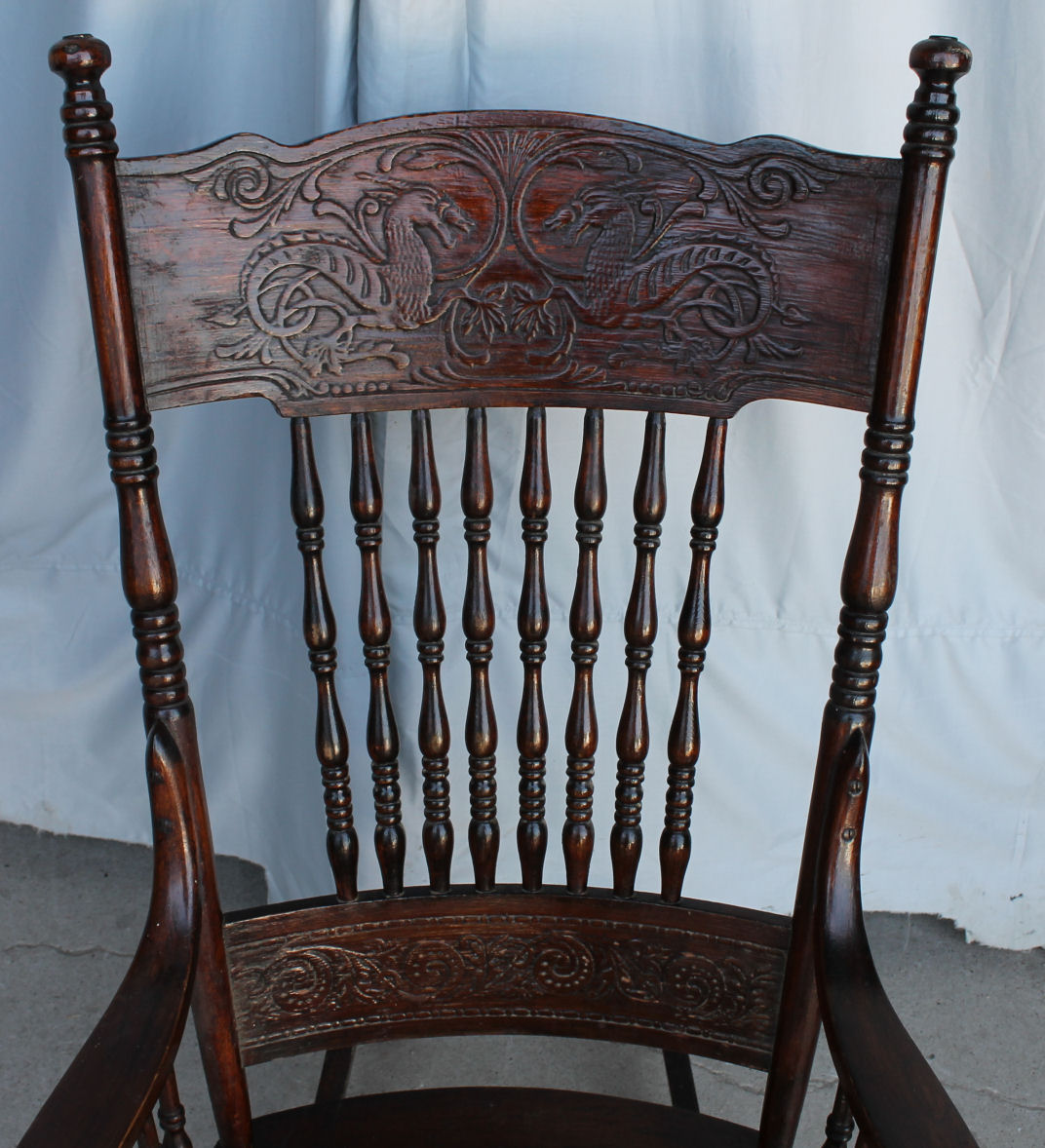 Bargain Johns Antiques  Rocking Chair with Dragons in