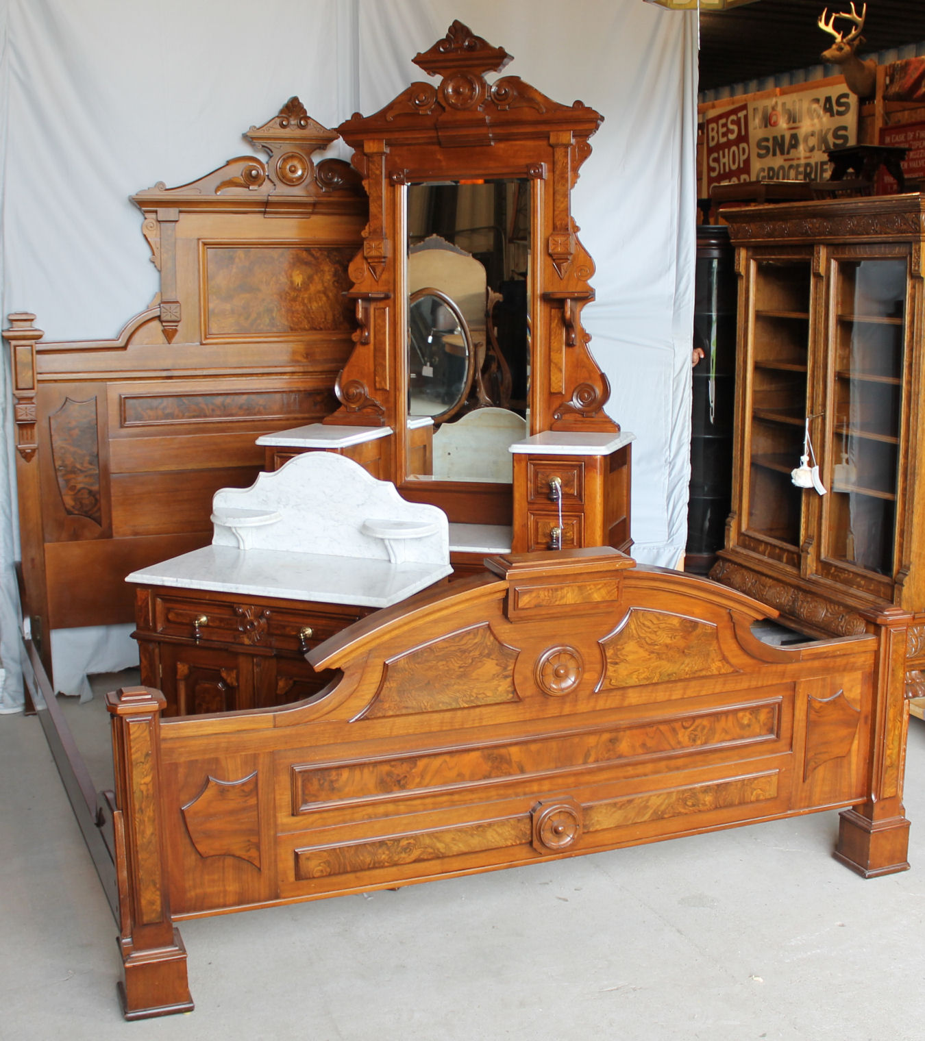 Bargain Johns Antiques  Antique Victorian Walnut 3 Piece Bedroom Set  King size Bed