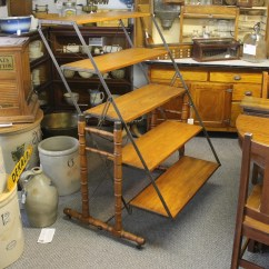 Lay Out Chair Eddie Bauer Wood High Bargain John's Antiques   Rare Antique Wooden And Cast Iron Baker's Rack That Turns Into A Table ...