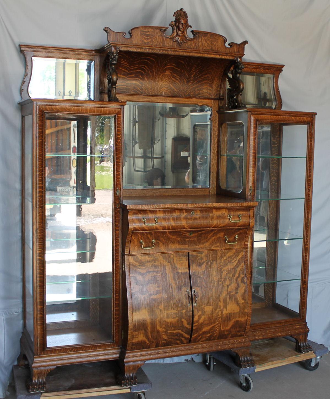 Bargain Johns Antiques  Antique Oak Double China Buffet