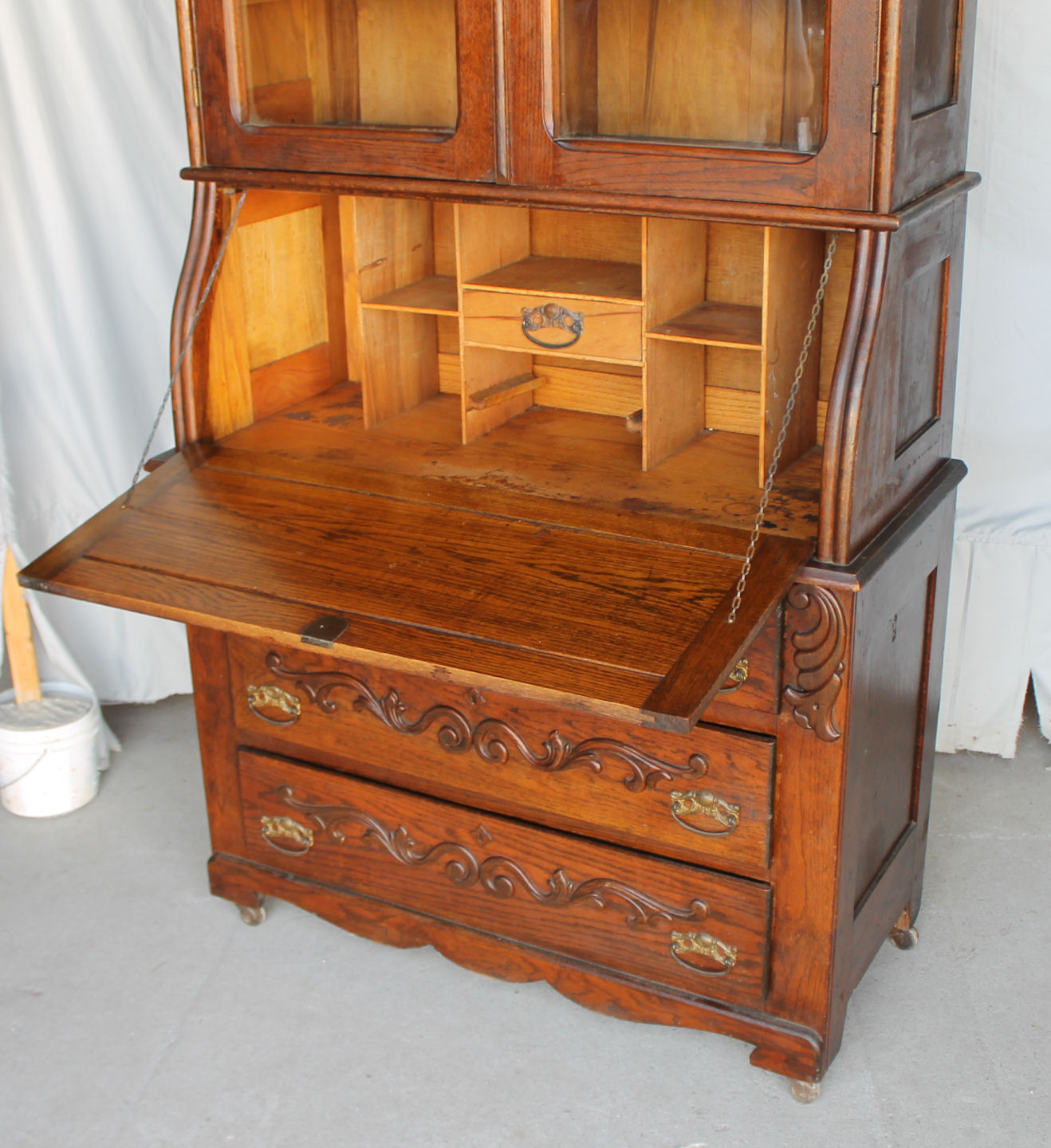 Bargain Johns Antiques  Oak Secretary Drop front Desk