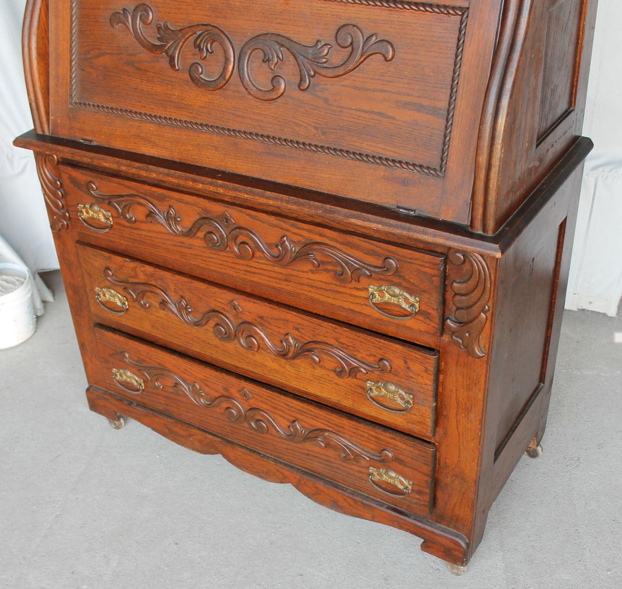 Bargain Johns Antiques  Oak Secretary Drop front Desk  orginal finish  Bargain Johns Antiques