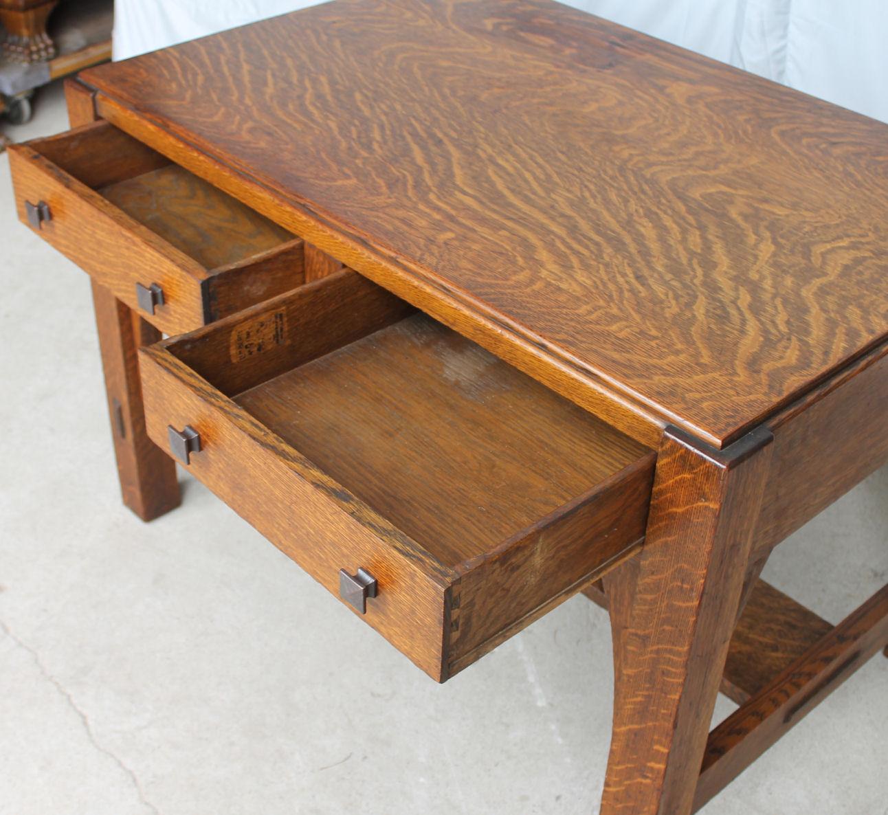 Bargain Johns Antiques  Mission Oak Library Table desk made by Limbert  Bargain Johns Antiques