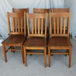 Solid Oak Pressed Back Chairs Wooden Table And For 18 Inch Dolls Bargain John's Antiques | Antique Set Of Six Matching Mission Arts Crafts Dining ...