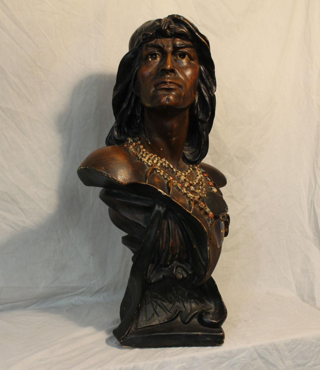 Bargain Johns Antiques  Chalkware Hiawatha Indian Bust