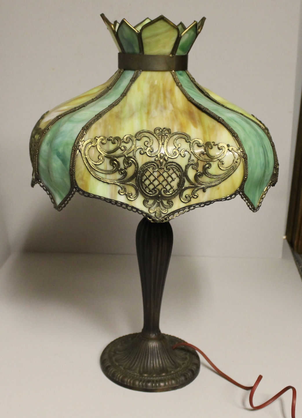 Bargain Johns Antiques  Antique Panel Lamp with Bent