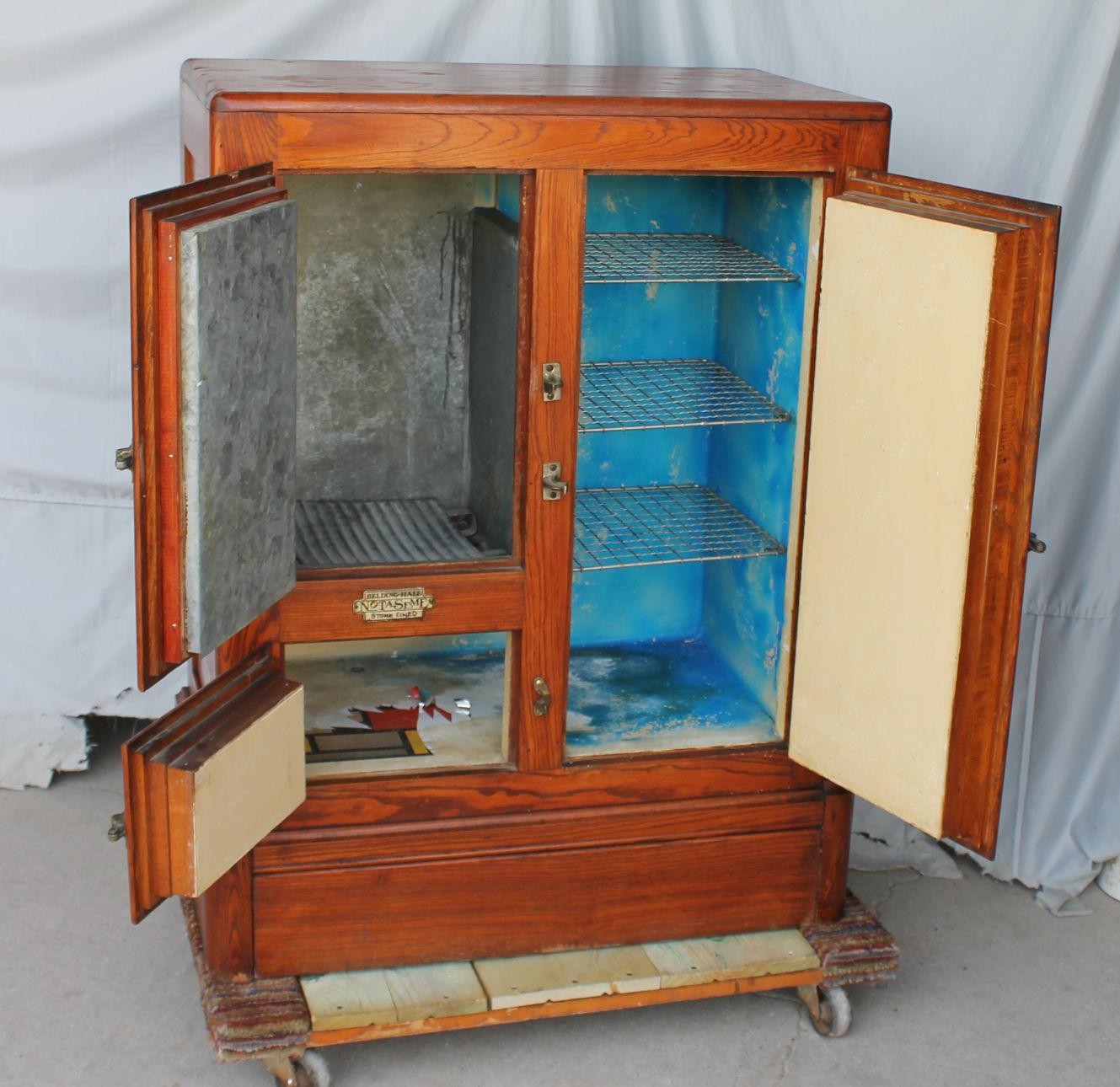 Bargain Johns Antiques  Antique Wood Ice Box  Belding