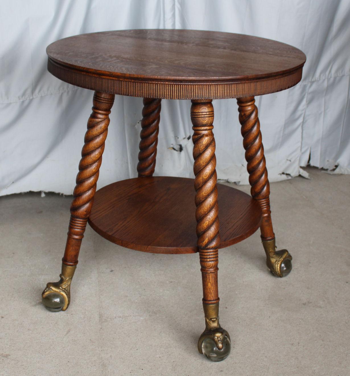 Bargain Johns Antiques  Antique Round Oak Parlor Lamp