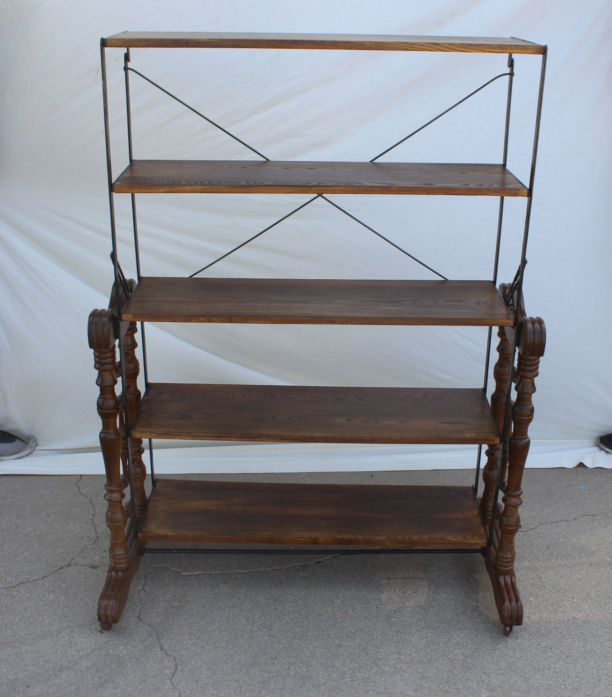 Bargain Johns Antiques Antique Wooden And Cast Iron Bakers Rack That Turns Into A Table