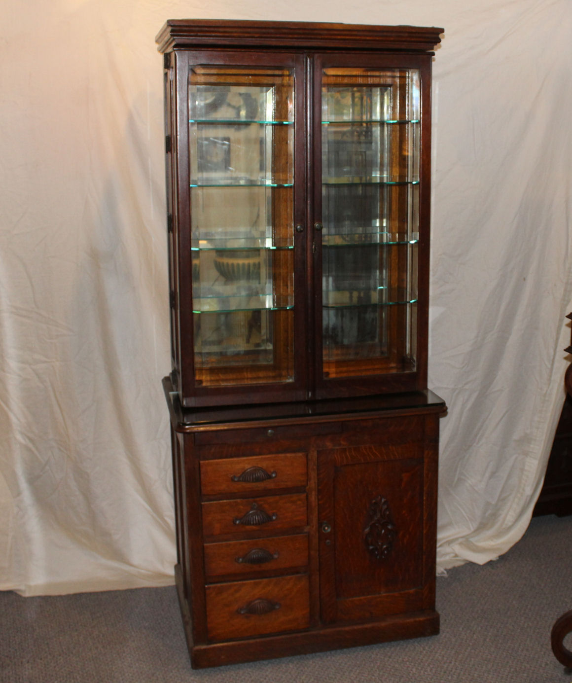 Bargain Johns Antiques  Rare Oak Doctors Cabinet  WD