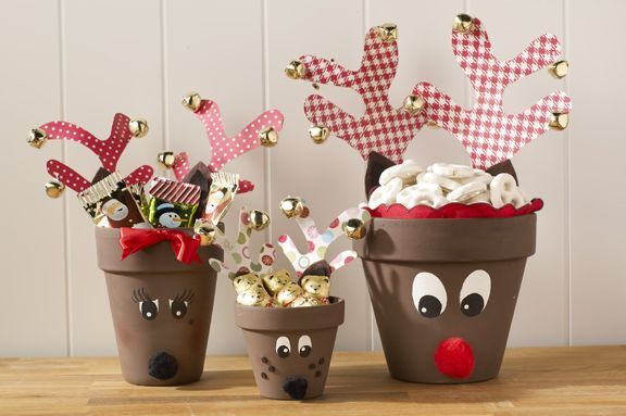 DIY Cute Clay Pot Reindeer