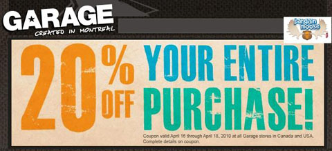 Garage 20 Off Printable Coupon  Weekend Only