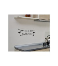Wine a bit with two glasses of wine wall art sticker, wall ...