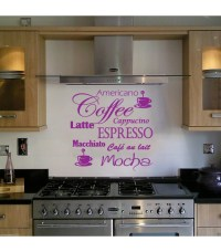 Coffee Latte Mocha wall art decal for kitchen wall decoration.