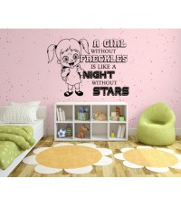 A girl with freckles bedroom wall decal, kids bedroom sticker.