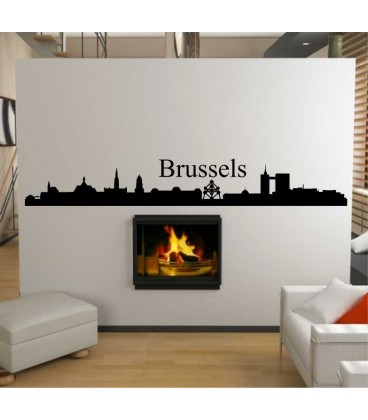 wall stickers living room royal blue curtains for brussels city skyline sticker decoration decal