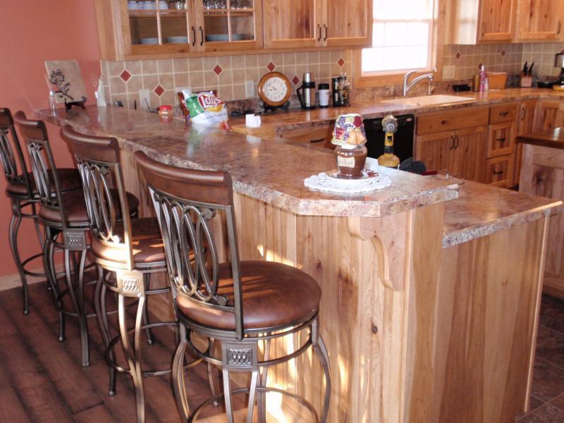 rustic hickory kitchen cabinets led ceiling lighting barhorst woodworks