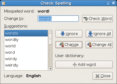 Gedit spell checking dialog