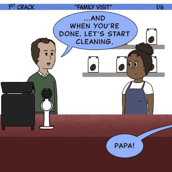 Primer cómic de Crack a Coffee para el fin de semana - 24 de julio de 2021 Panel 1