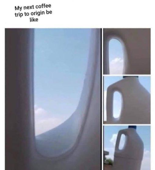 """Un meme que hace una broma con un cartón de leche puede alejarse a una imagen completa con la leyenda """"mi próximo viaje al origen será como."""""""