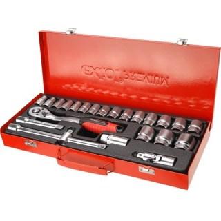 Extol, dugókulcs készlet, CV., racsnis 45fog ; 1/2″ 24db, 10-32mm, fém doboz Minden termék