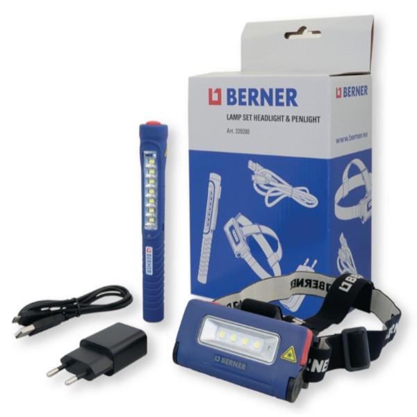 BERNER LED lámpakészlet, fejlámpa + Pen Light LED