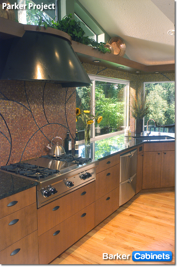 Slab Cabinets in Cherry