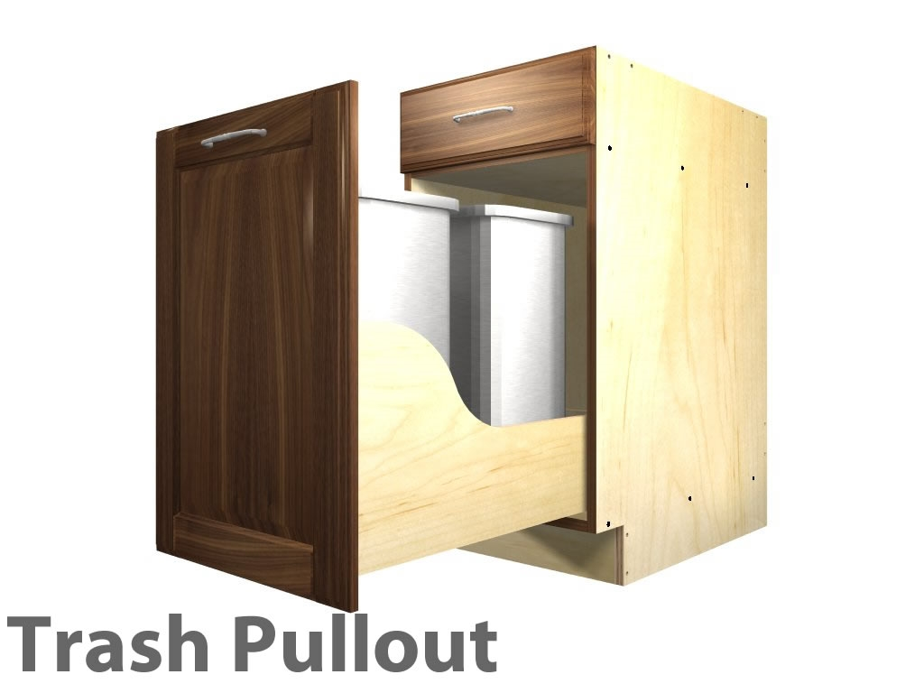 1 pullout trash and 1 drawer cabinet