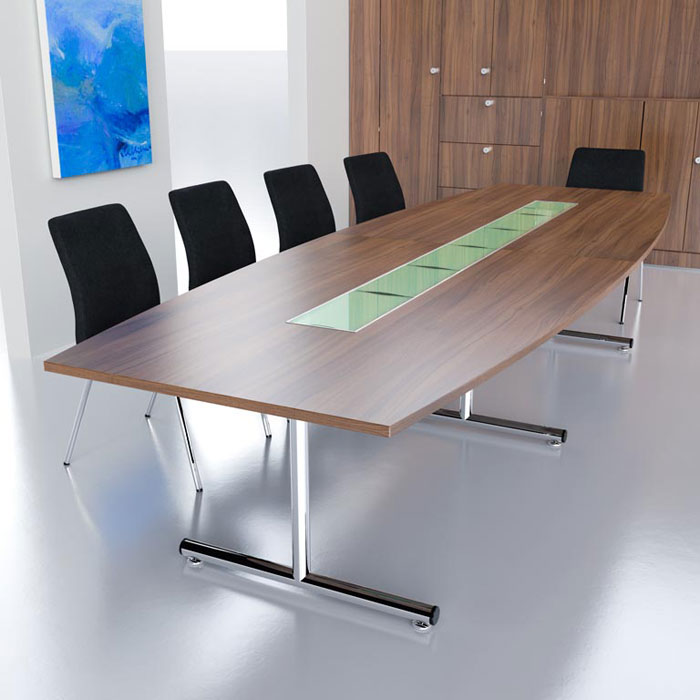 Barrel Shaped Boardroom Table on Chrome T Base in MFC