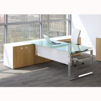 Glass Top Executive Desk | glass desk | desk with storage