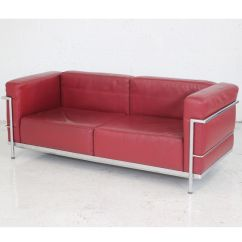 Lc3 Sofa Custom Leather Cushions Le Corbusier Style Red Sofas