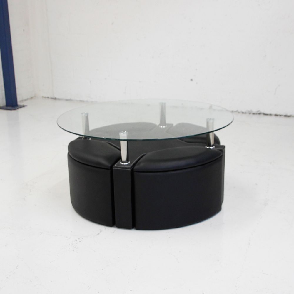 round glass coffee table and 4 storage stools in black