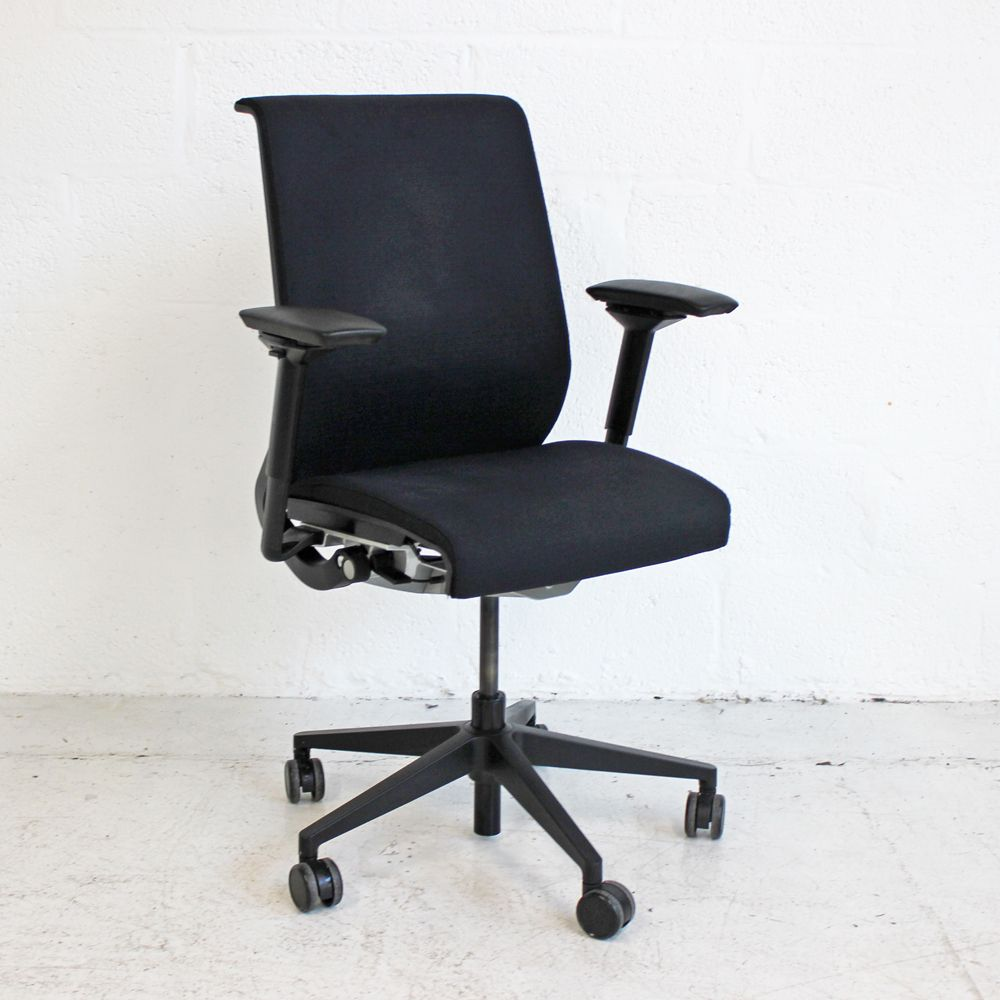 upholstered computer chair ikea childrens poang steelcase think operator back black task