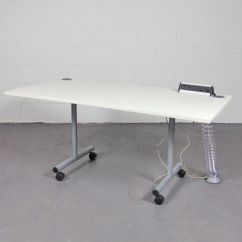 Used Desk Chairs Dining Room For Sale White Flip Top Table With Mounted Power Modules | Folding Plugs Meeting ...