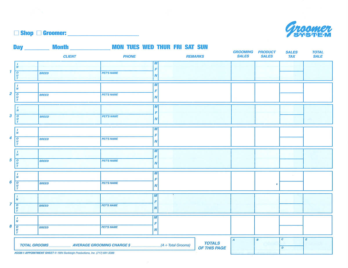 groomer system appointment sheets barkleigh store
