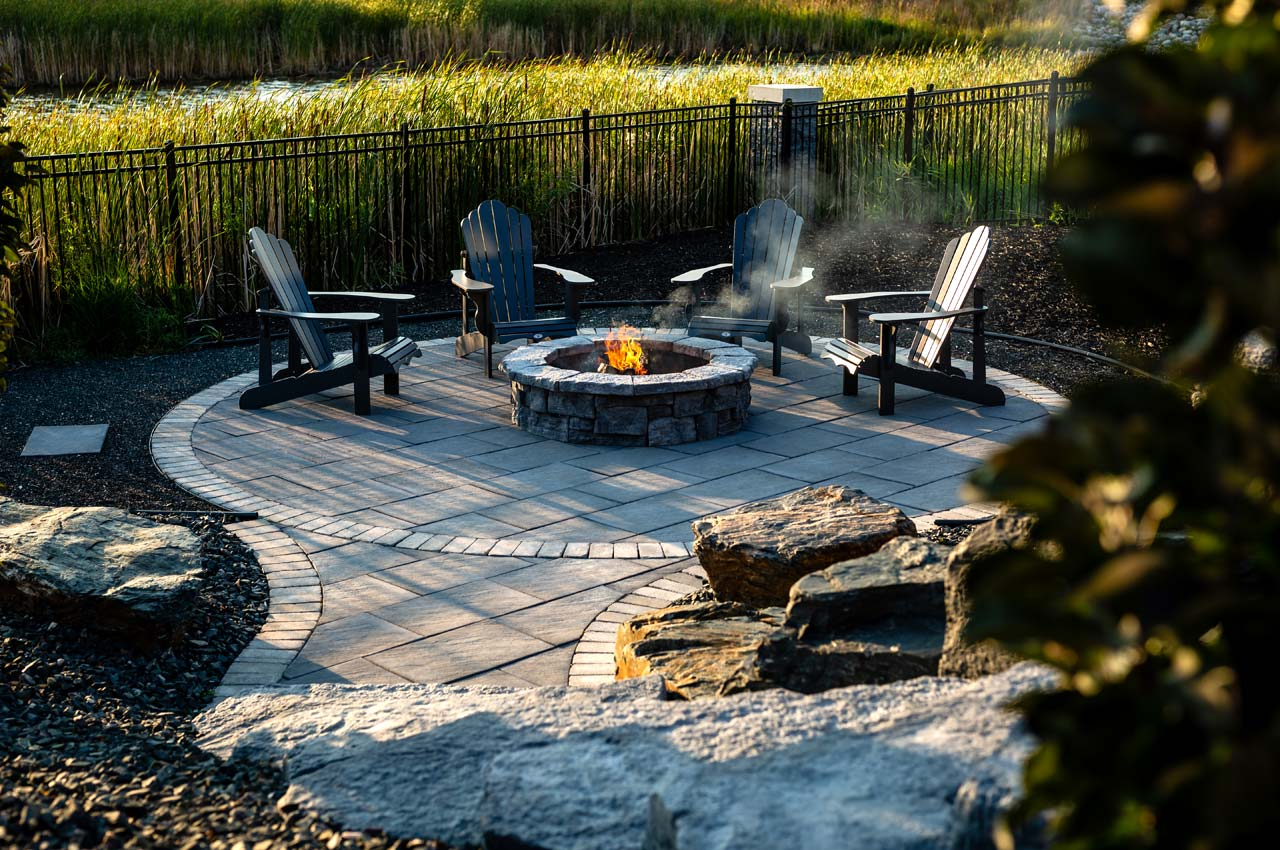 Brookside Slab Patio with Belvedere Firepit