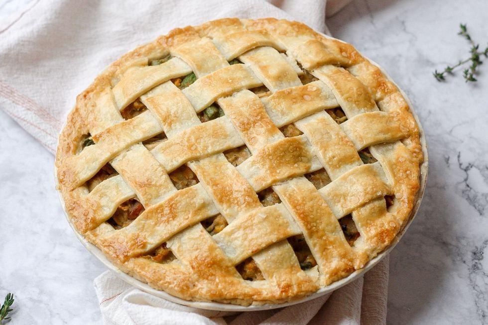 chicken pot pie with lattice pie crust