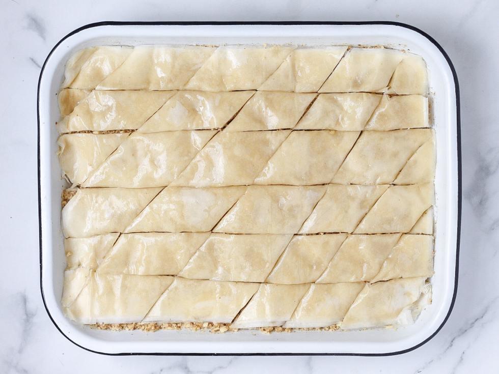 scored baklava before baking