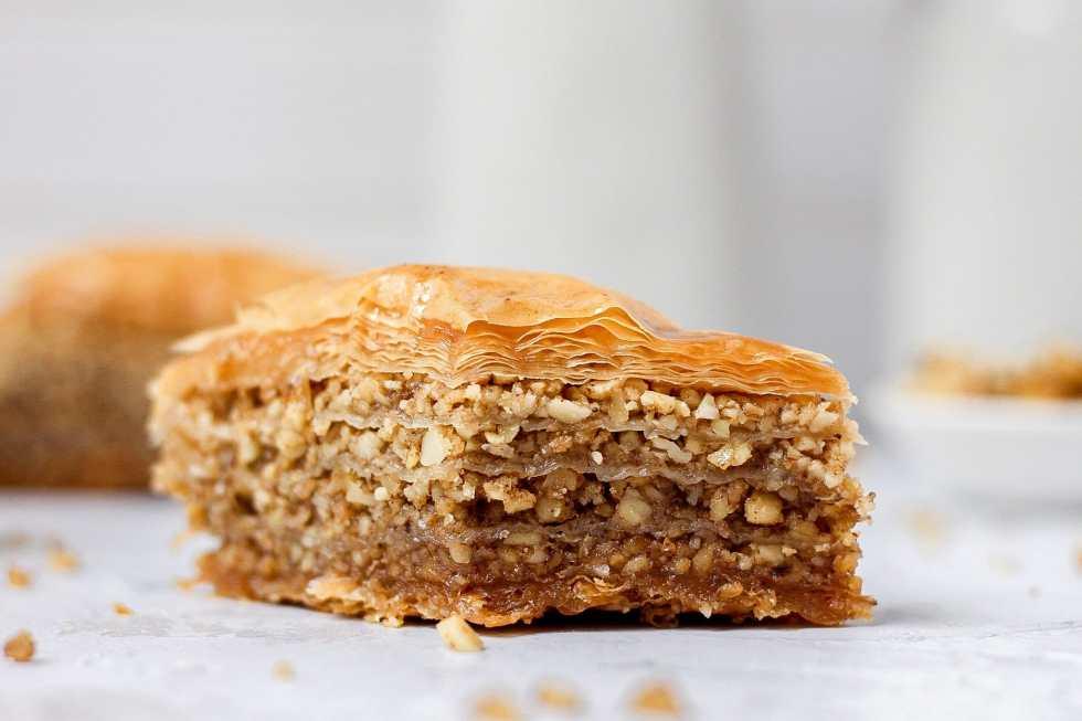 almond and walnut baklava close up