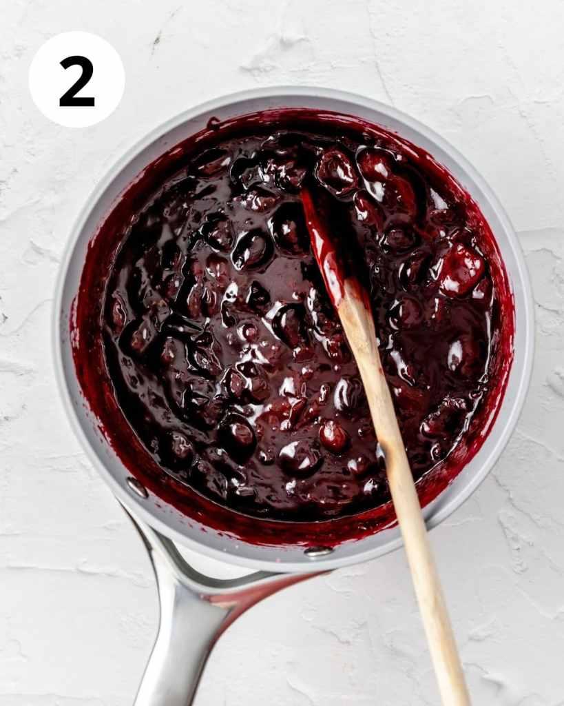 homemade cherry filling in pot