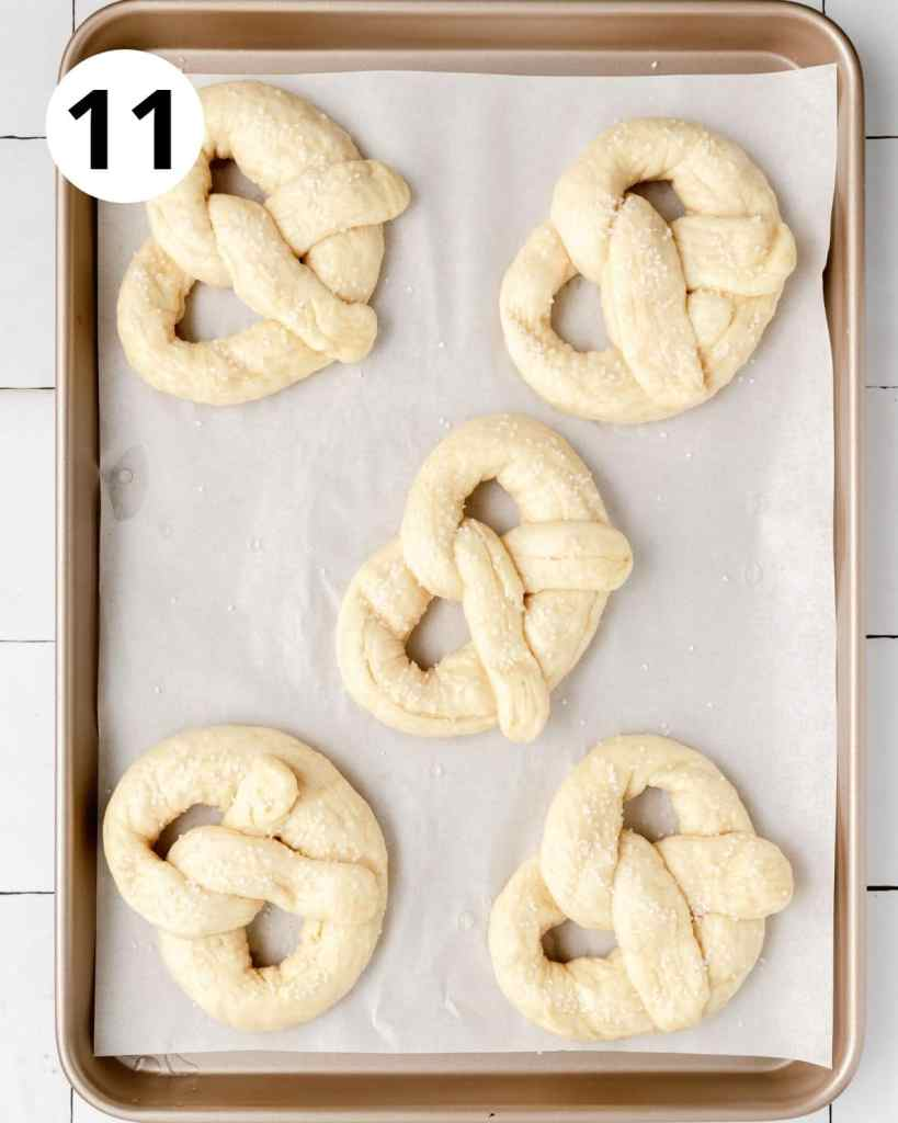 sourdough pretzels after boiling but before baking