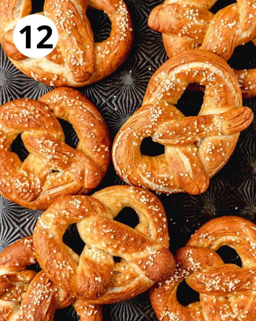 sourdough pretzels after baking