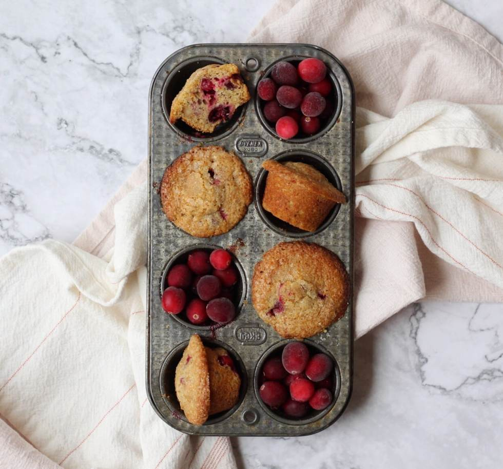 old photo of cranberry muffins