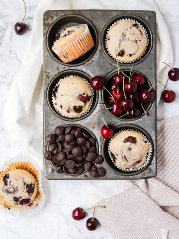 chocolate cherry muffins in muffin tin